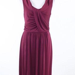 Ann Taylor maroon red stretch blouson dress 8
